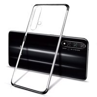 Clear Color Case Gel TPU Electroplating frame Cover for Huawei Nova 5T / Honor 20 / Honor 20 Pro / Honor 20S black