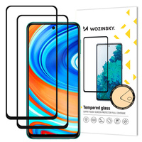 Wozinsky 2x Tempered Glass Full Glue Super Tough Screen Protector Full Coveraged with Frame Case Friendly for Xiaomi Redmi Note 9 Pro / Redmi Note 9S black