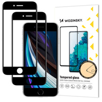 Wozinsky 2x Tempered Glass Full Glue Super Tough Screen Protector Full Coveraged with Frame Case Friendly for iPhone SE 2020 / iPhone 8 / iPhone 7 / iPhone 6S / iPhone 6 black