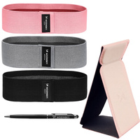 Wozinsky Gift Box 3x set Fitness Resistance Loop Mini Band Training Equipment for Home Gym + Self-adhesive phone holder + Pen for Smartphones Tablets Notebooks