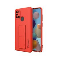 Wozinsky Kickstand Case flexible silicone cover with a stand Samsung Galaxy A21S red