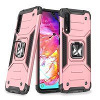 Wozinsky Ring Armor Case Kickstand Tough Rugged Cover for Samsung Galaxy A70 pink