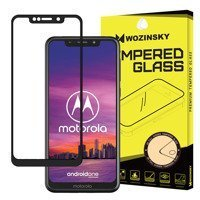 Wozinsky Tempered Glass Full Glue Super Tough Screen Protector Full Coveraged with Frame Case Friendly for Motorola One black