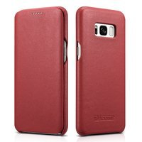 iCarer Leather Folio genuine leather case with a flap for Samsung Galaxy S8 red (RS99002-RD)