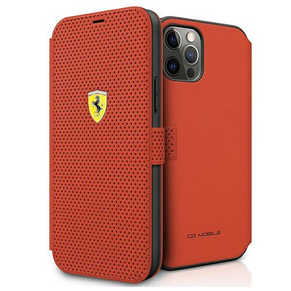 """Ferrari FESPEFLBKP12LRE iPhone 12 Pro Max 6,7 """"red / red book On Track Perforated"""