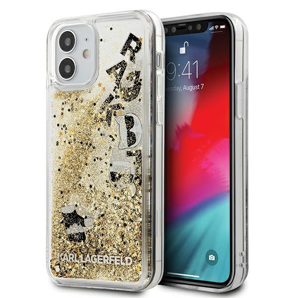 """Karl Lagerfeld KLHCP12SROGO iPhone 12 mini 5,4 """"gold / gold hardcase Glitter Charms"""