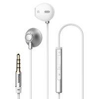 Baseus Encok H06 douszne słuchawki zestaw słuchawkowy z pilotem srebrny (NGH06-0S)