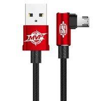Baseus MVP Elbow Type dwustronny kątowy kabel przewód z bocznym wtykiem micro USB 2m 1.5A czerwony (CAMMVP-B09)