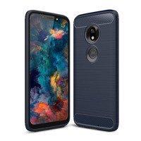 Carbon Case elastyczne etui pokrowiec Motorola Moto G7 Play niebieski