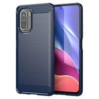 Carbon Case elastyczne etui pokrowiec Xiaomi Poco F3 niebieski