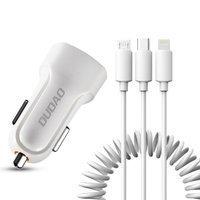 Dudao zestaw samochodowa ładowarka 2x USB 2.4A + kabel przewód USB 3w1 Lightning / Typ C / micro USB biały (R7 white)