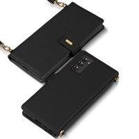 Ringke Folio Signature skórzane etui z klapką i paskiem na ramię do Samsung Galaxy Note 20 czarny (FS79R55)