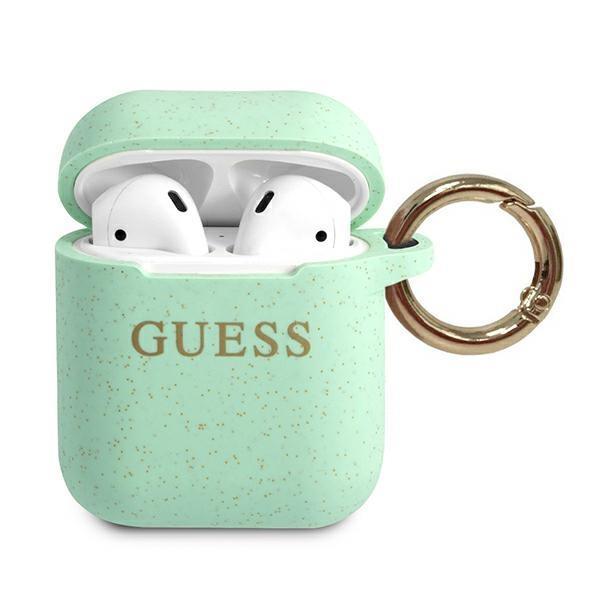Guess GUACCSILGLGN AirPods cover zielony/green Silicone Glitter